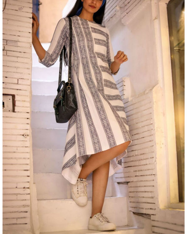 Handwoven stripes midi dress 1
