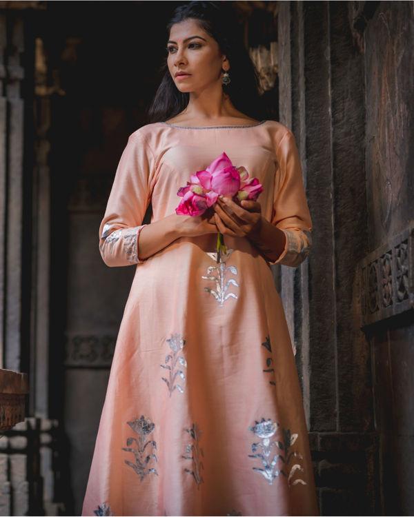 Peach floral printed kurta pant set 1
