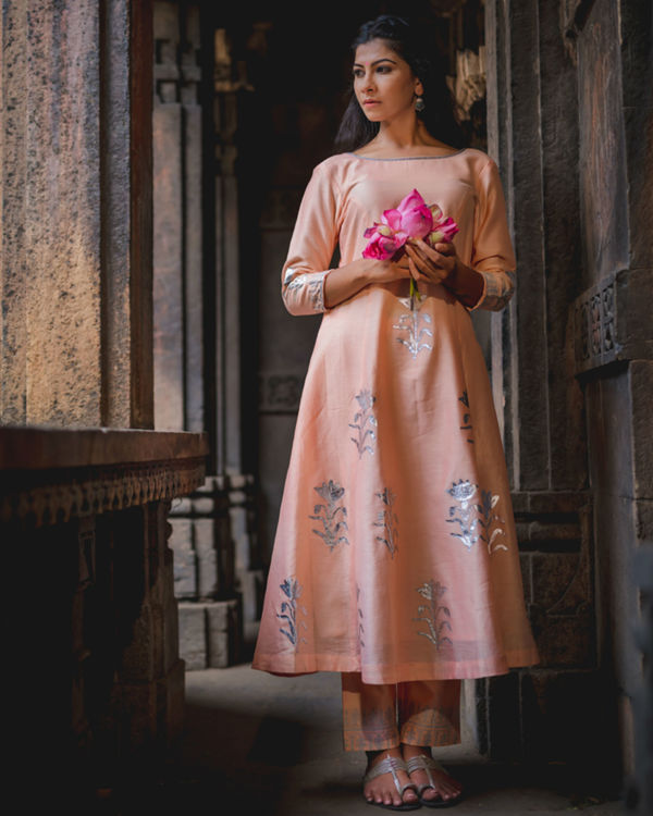 Peach floral printed kurta pant set 2