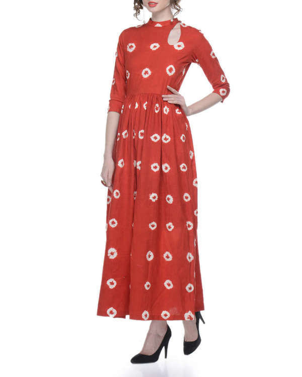 Red tie and dye maxi dress 1