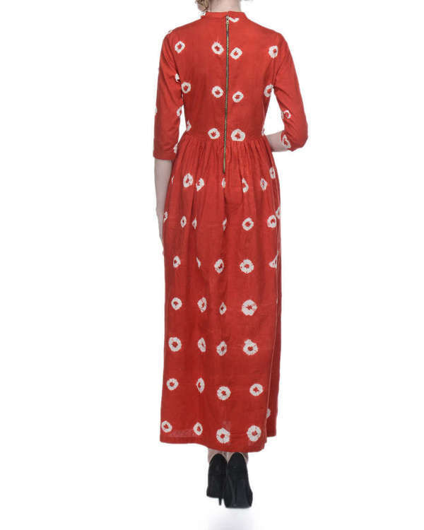 Red tie and dye maxi dress 2
