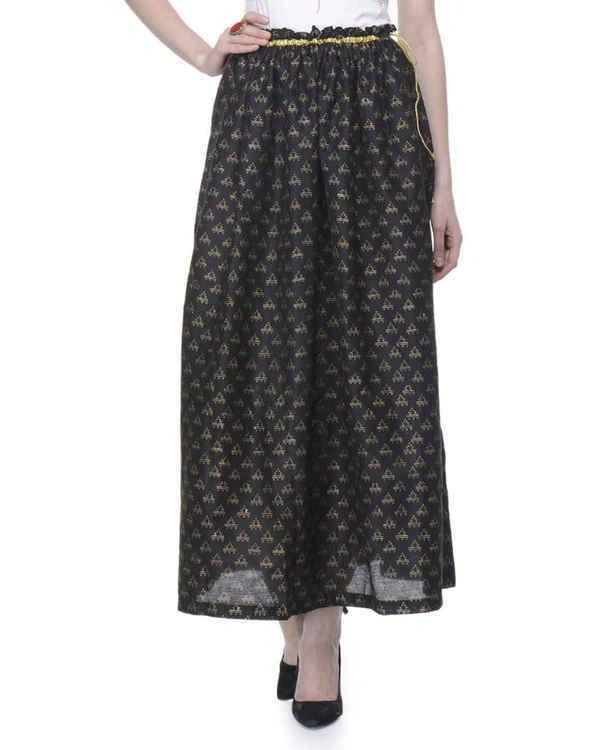 Black gathered block printed skirt 1