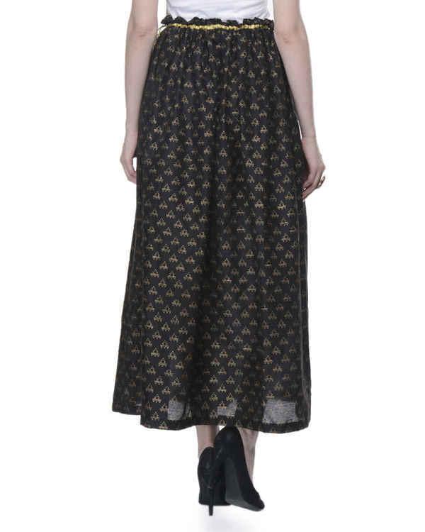 Black gathered block printed skirt 2