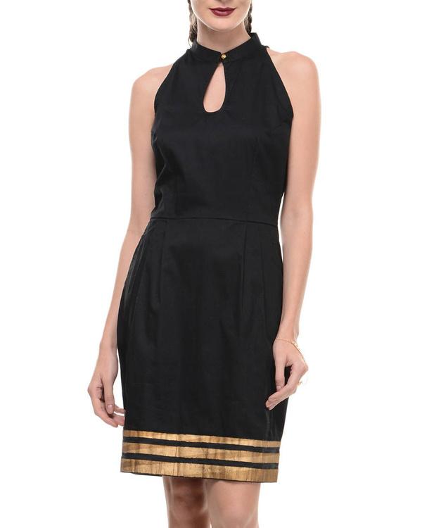 Black lycra dress with printed hemline 1