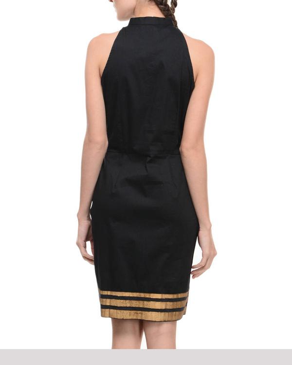 Black lycra dress with printed hemline 2