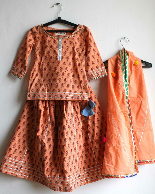 Orange cotton lehenga set 1