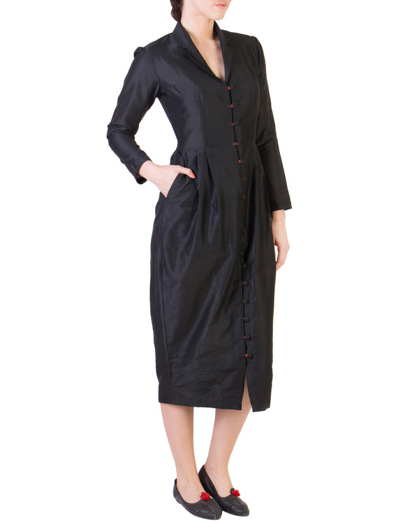 Black dress with orange button loops 1