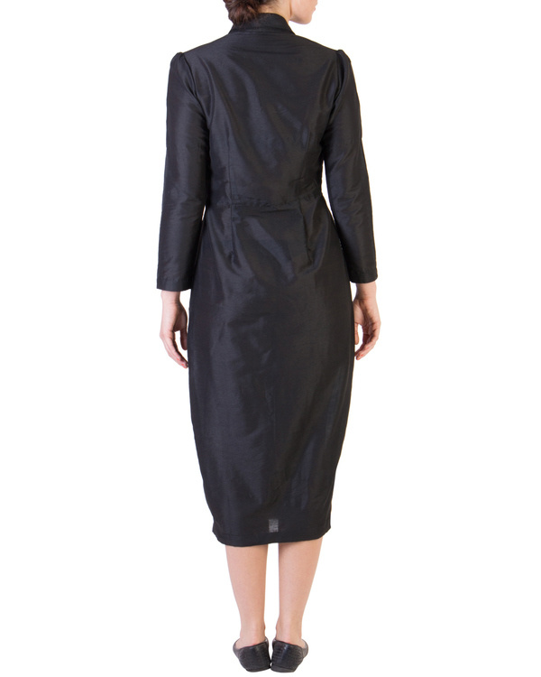 Black dress with orange button loops 3