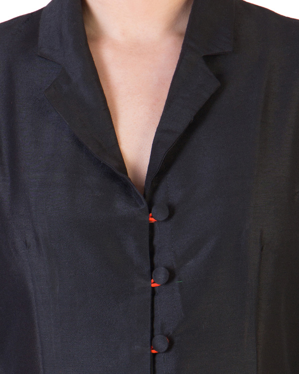 Black dress with orange button loops 4