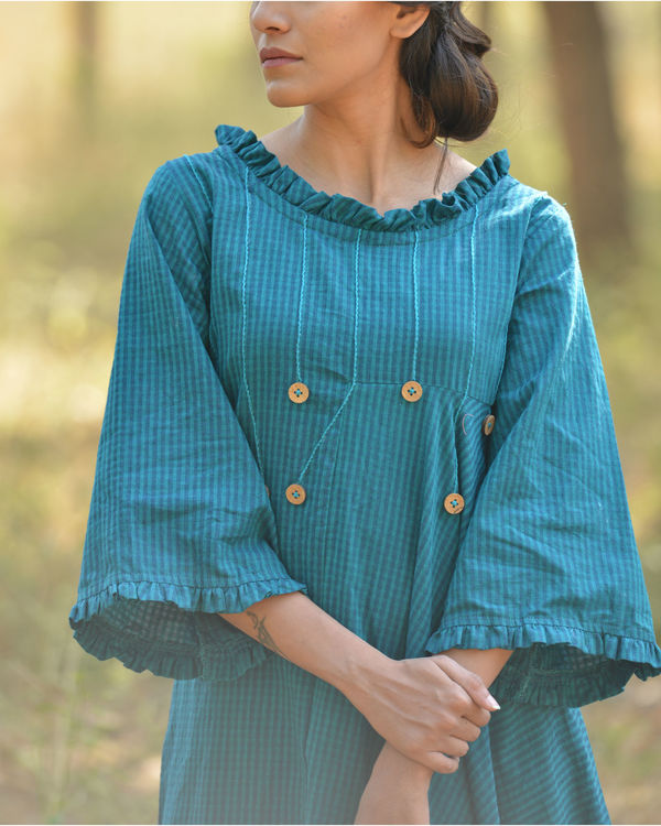 Shades of blue cowl dress 1