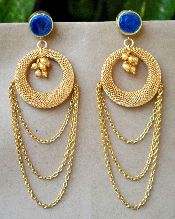 Blue layer chain earrings 1