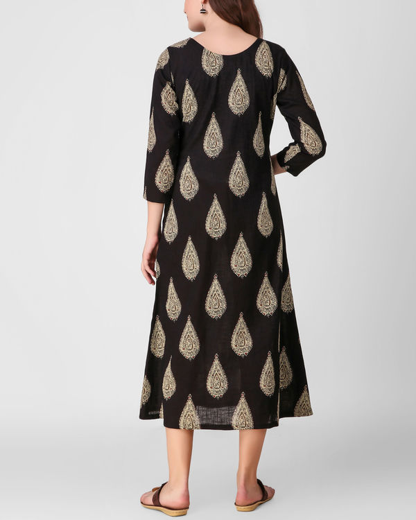 Black kalamkari print dress 1