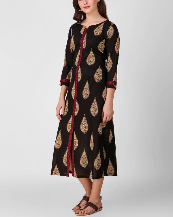 Black cross embroidery placket dress 1