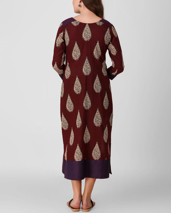 Reddish brown kalamkari dress 1