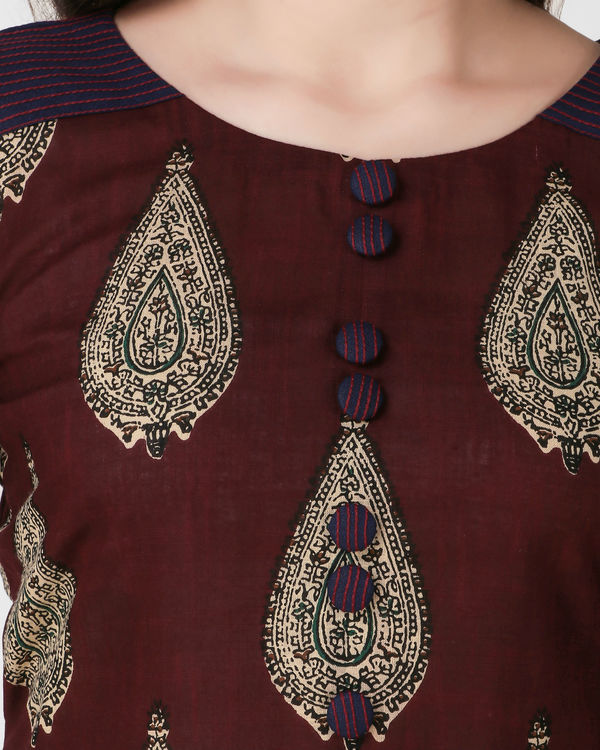 Reddish brown kalamkari dress 2
