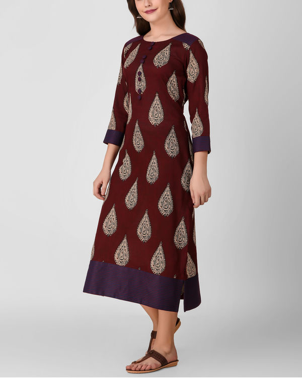 Reddish brown kalamkari dress 3
