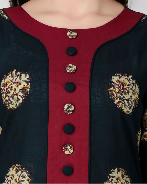 Blue and red cotton tunic 1