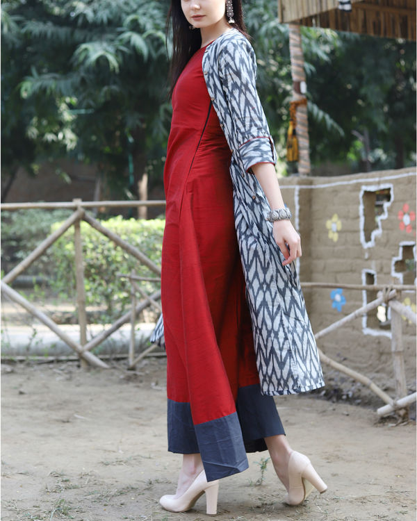 Red ikat jacket dress 2