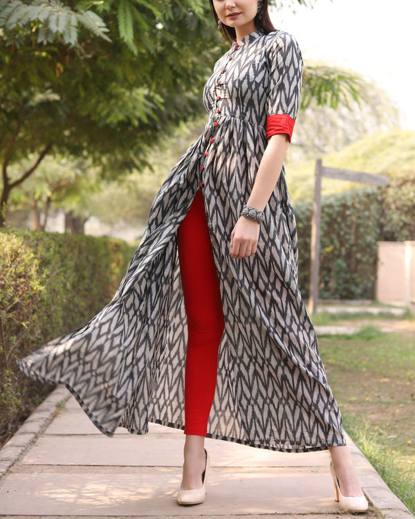 Grey pure ikat cotton cape 2