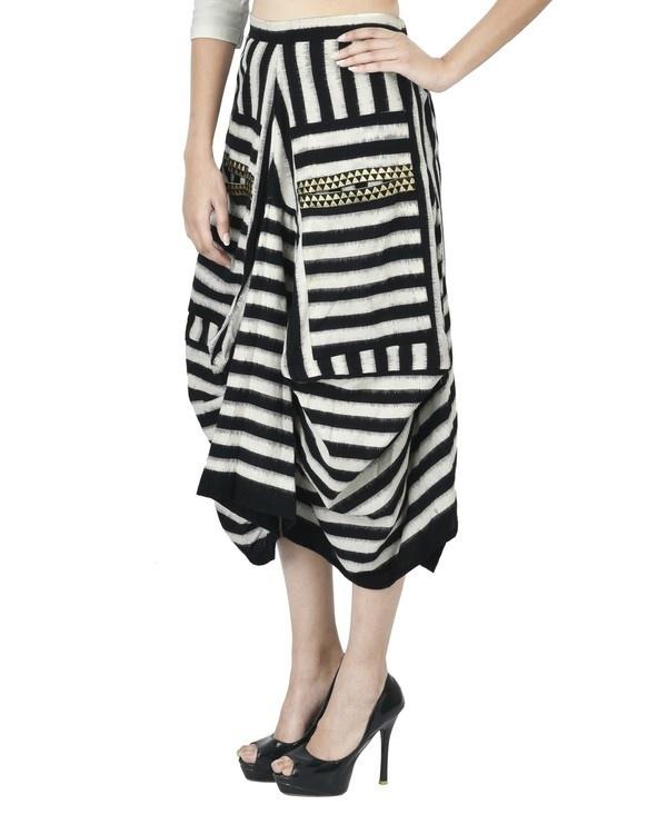 Black and white ikat draped skirt 1