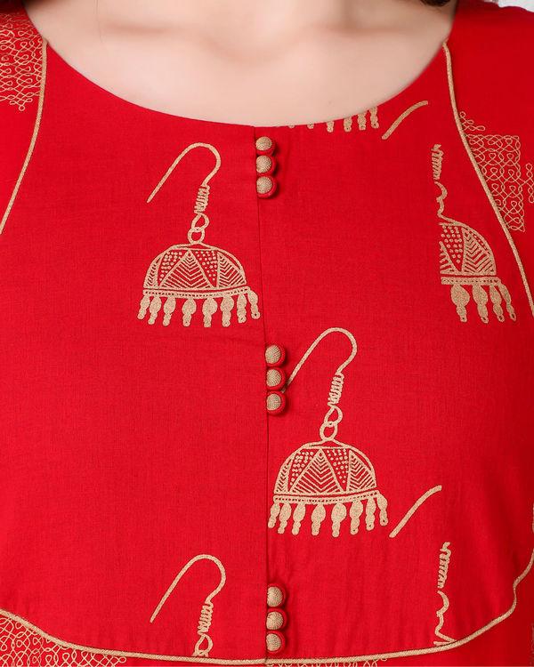 Red golden print dhoti set 2