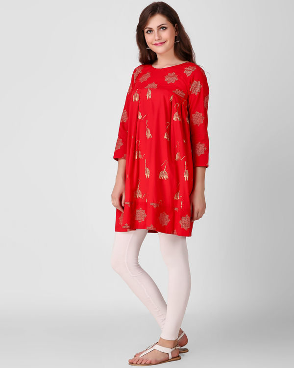 Red dual print tunic 2