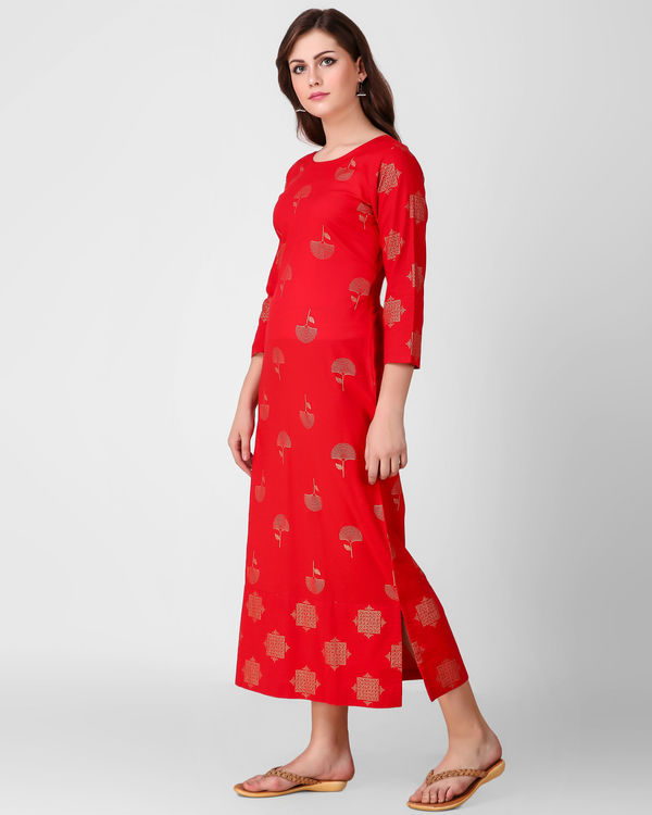 Red printed patch dress 1