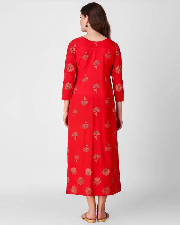 Red printed patch dress 2