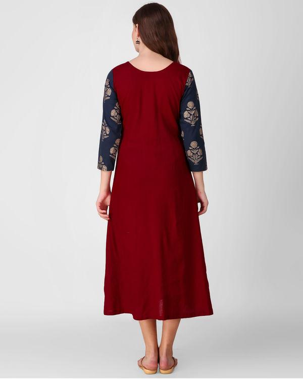 Blue gold print patch dress 1