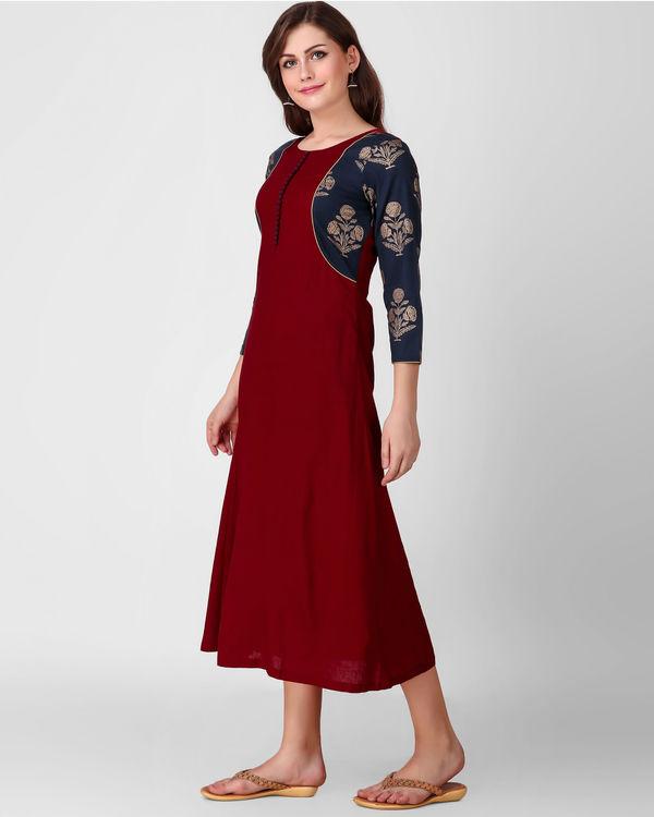 Blue gold print patch dress 2