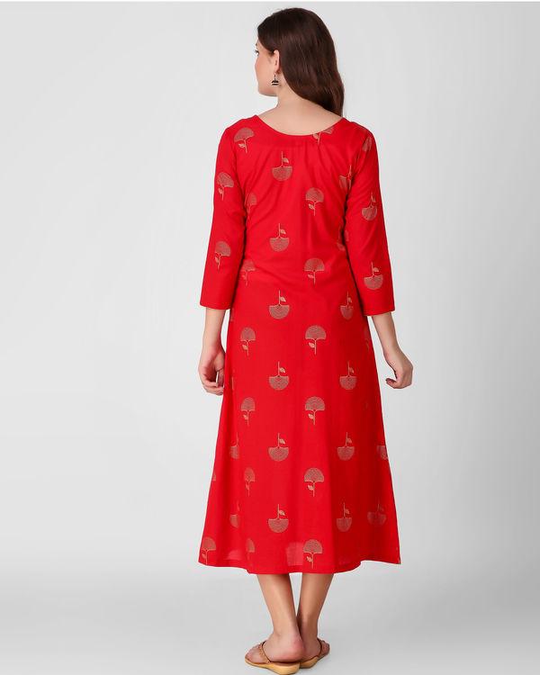Red golden daffodil print dress 1