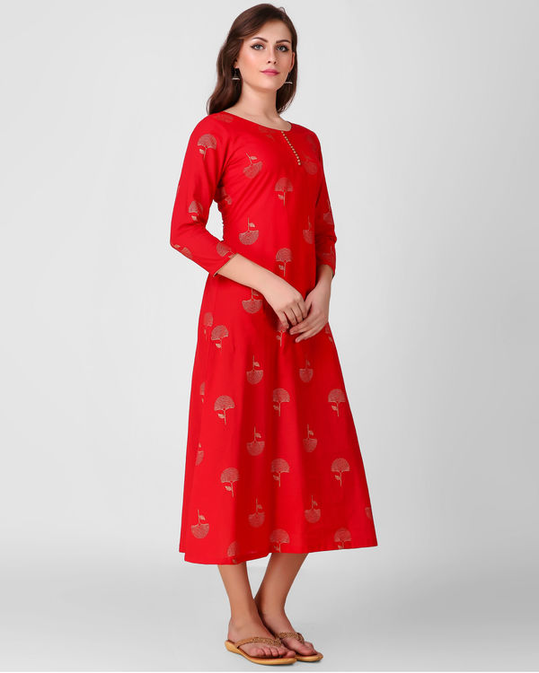 Red golden daffodil print dress 2