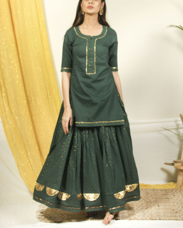 Pine green golden kurta lehenga set 1