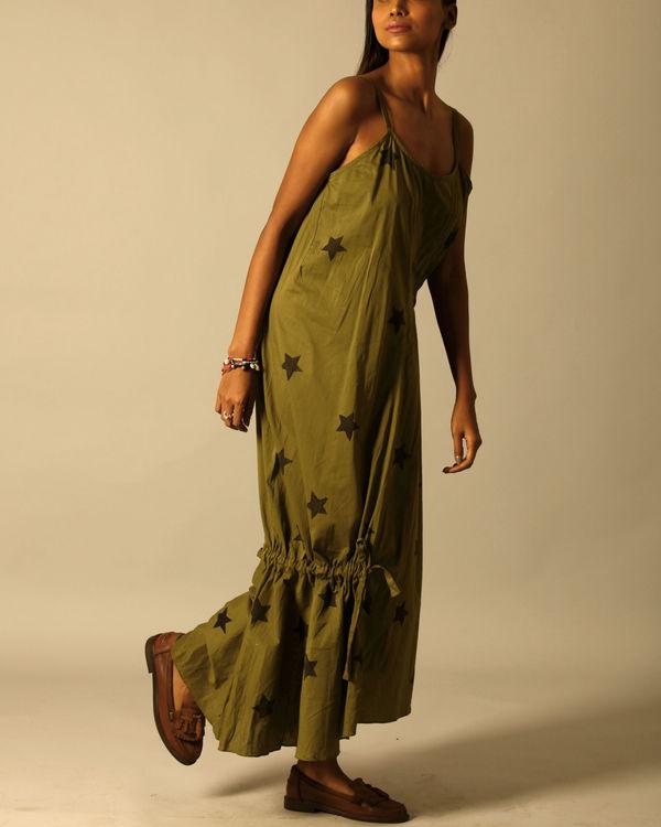 Green star print dress 1