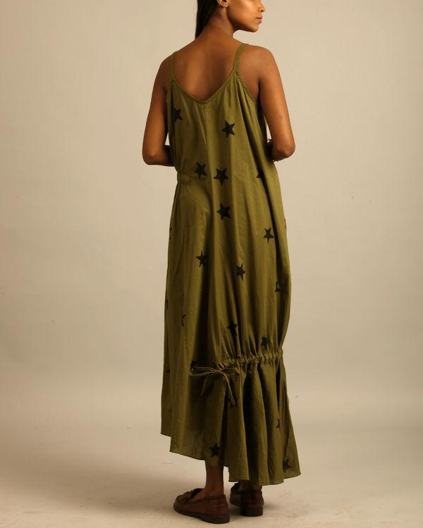 Green star print dress 2