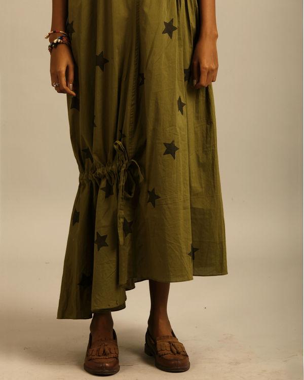 Green star print dress 3