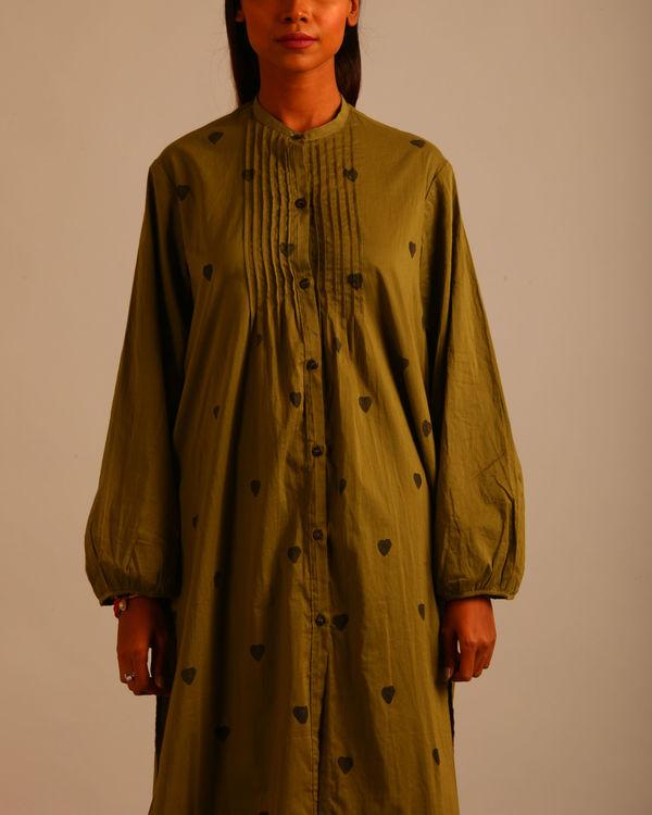 Green block print tucks dress 3