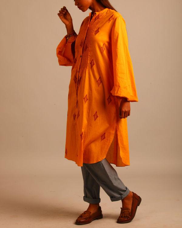 Yellow and maroon block print dress 1