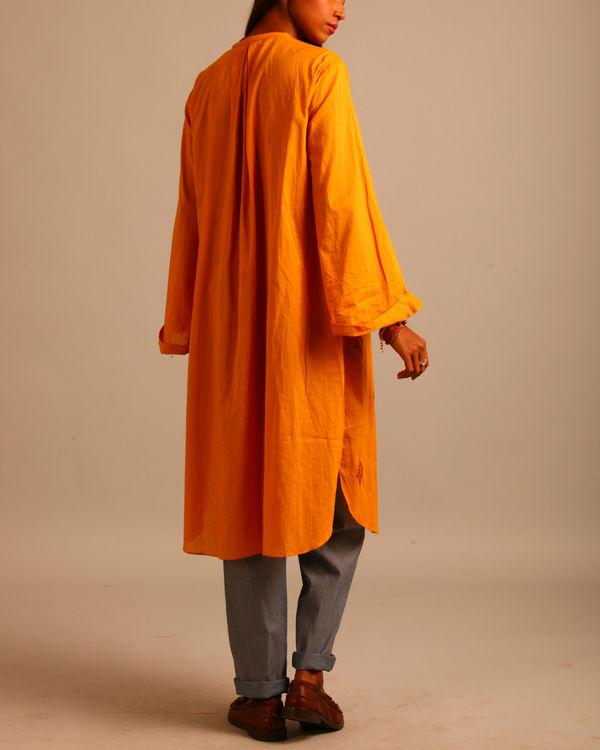 Yellow and maroon block print dress 2