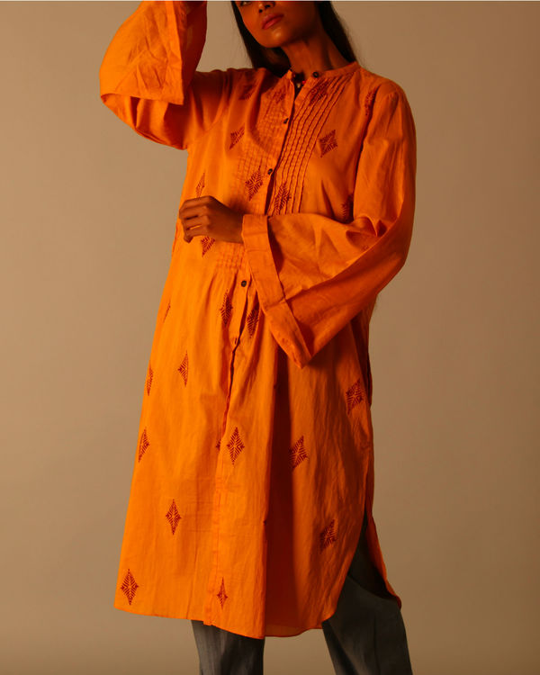 Yellow and maroon block print dress 3