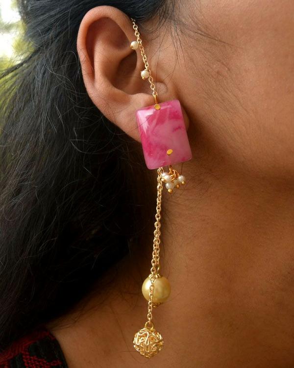 Pink kanauti earrings 1