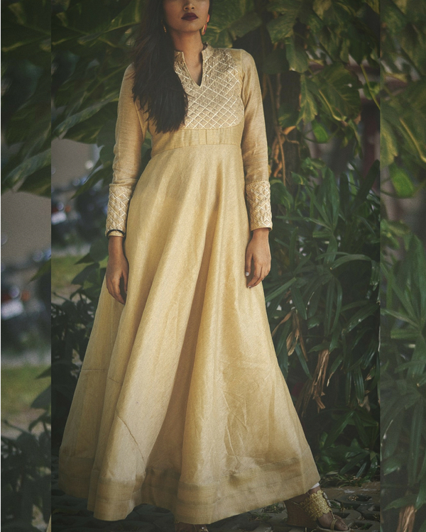 Golden beige dress with dupatta 1