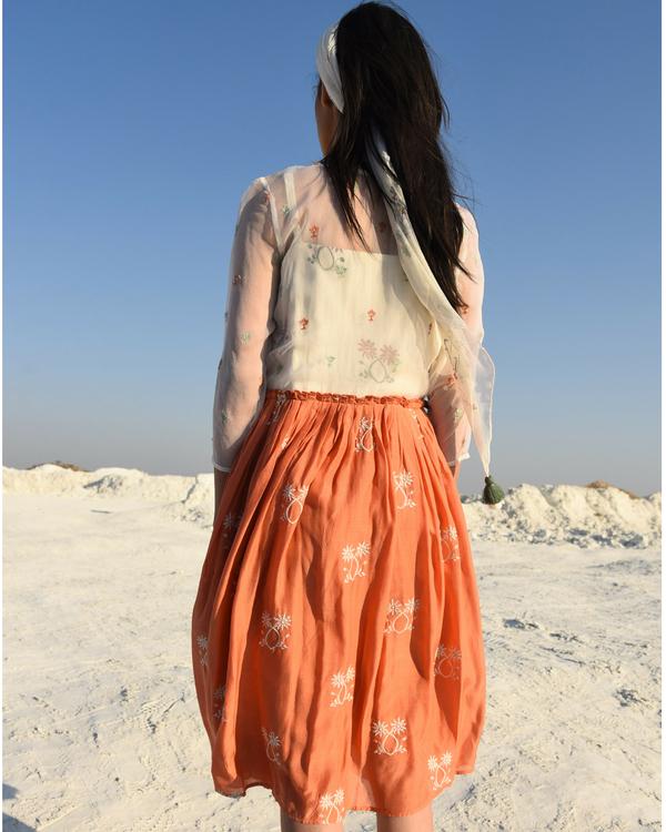 Gathered rusty muslin dress 1