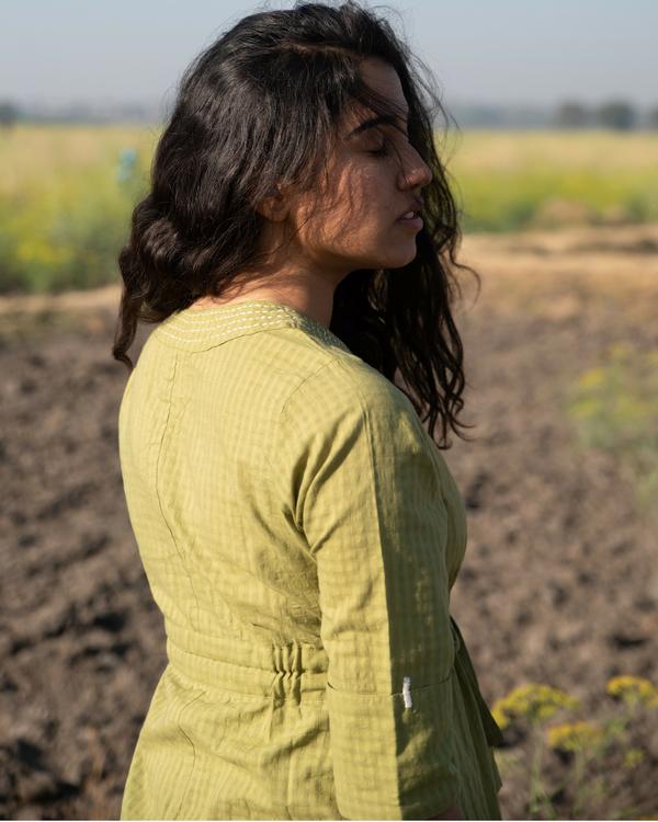 Moss green mulmul dress 1