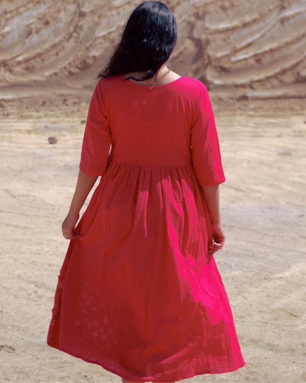 Crimson cutwork dress 1