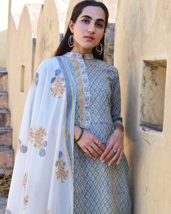 Cotton blue mughal kurta set 1