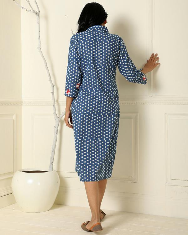 Indigo polka dot dress 1