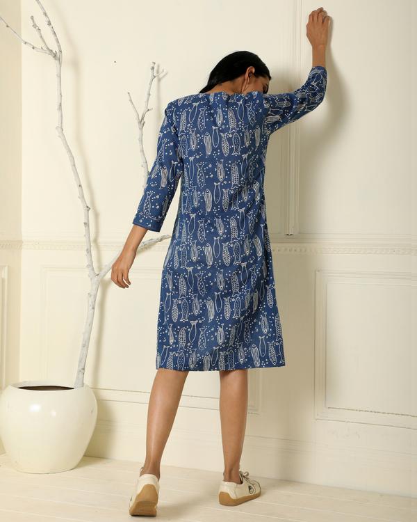 Indigo fish line dress 2