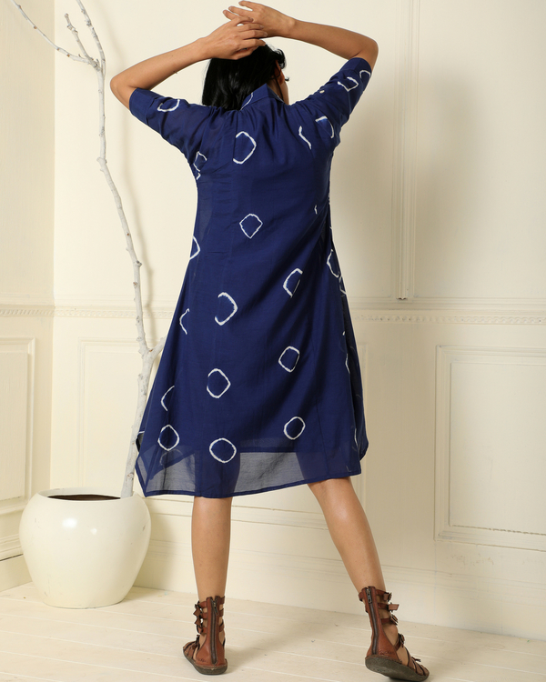 Indigo asymmetrical hand-dyed dress 1