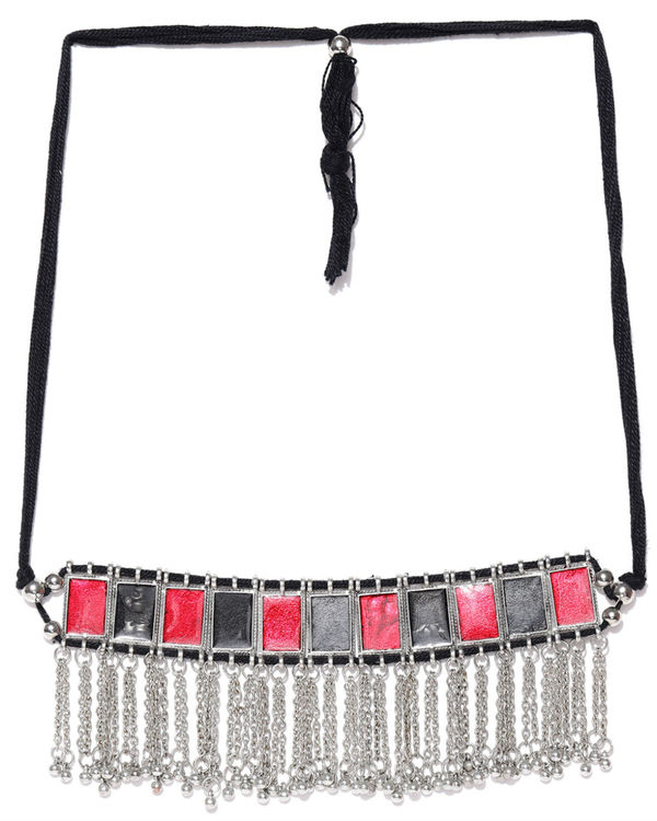 Silver & red choker necklace 1